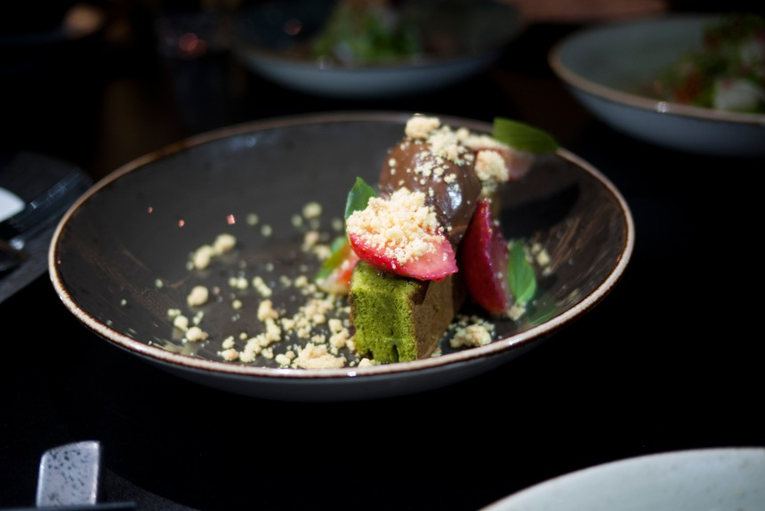 Matcha cake, chocolate ganache, liquid hazelnut praline, toasted milk, strawberry
