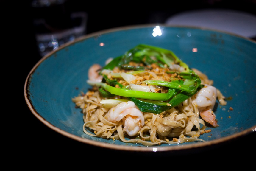 Prawn lo mein with shellfish oil, grilled shallot, crispy garlic