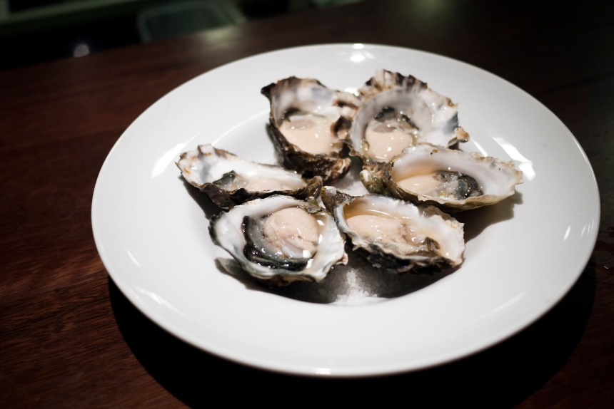 Sydney rock oysters with kimchi consomme