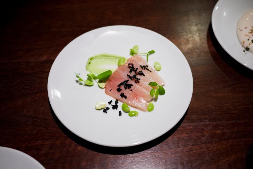Cured kingfish, edamame, horseradish