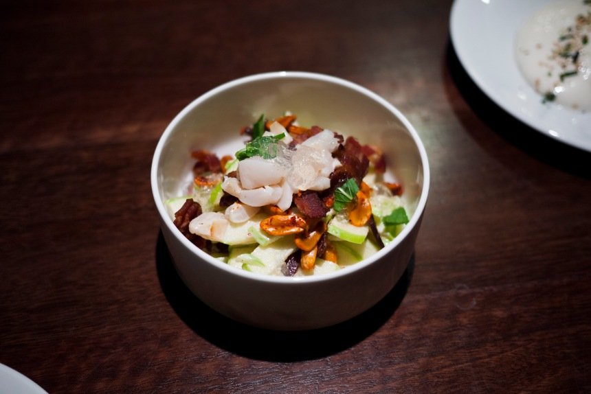 Apple salad with bacon, lychee, peanuts