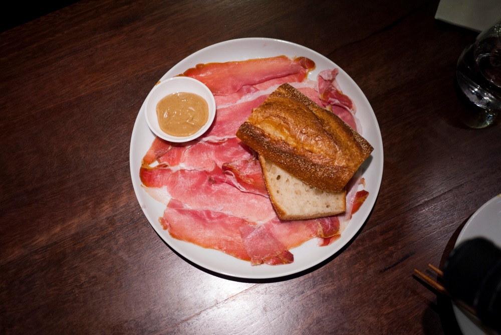 Smoked prosciutto with red eye mayo, baguette