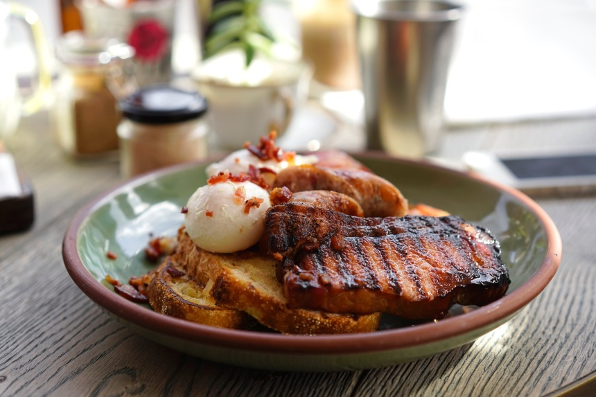 Bacon All the Rules - Black Forest Smokehouse maple bacon, bourbon bacon, bacon steak, bacon sausage and bacon-crumbed poached eggs served on sourdought